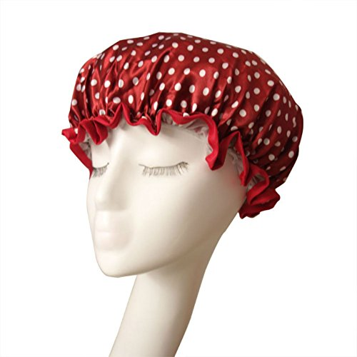 AKOAK Women Lovely Thick Waterproof Shower Bath Cap Double Layer Satin Lined Shower Cap Shampoo Cap for Women,1 Count - Wine Red Dot