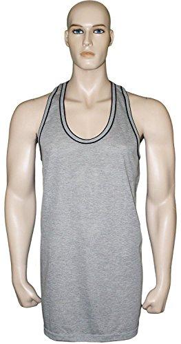 Para hombre de costura para chalecos de sin mangas de mujer entrenamiento de Sumer muscular chalecos de mujer de algodón de gran calidad gris