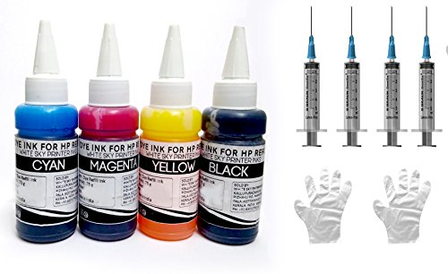 White Sky Refill Ink for HP Printer Cartridges 802, 678, 901,818,21,22,680,27,703,704,803,685,862,920,808,960 with 4 Syringes - 300ml (Compatible)