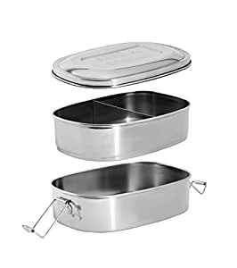 Stainless Steel Insulated Metal Lunch Bento Box Set. 2 Layer, 3 Compartment Japanese Divided Tiffin Stacking Eco Lunchbox Food Container for Men, Women, Kids, Adults. Ecofriendly Bentobox.