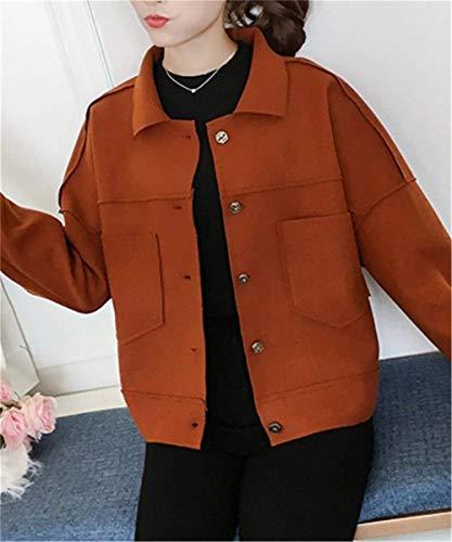 Baggy Colori Bavero Breasted Solidi Cappotto Tasche Manica Donna Invernali Stile Vintage Rot Single Anteriori Coat Corto Modern Lunga Giaccone qXX1txOg