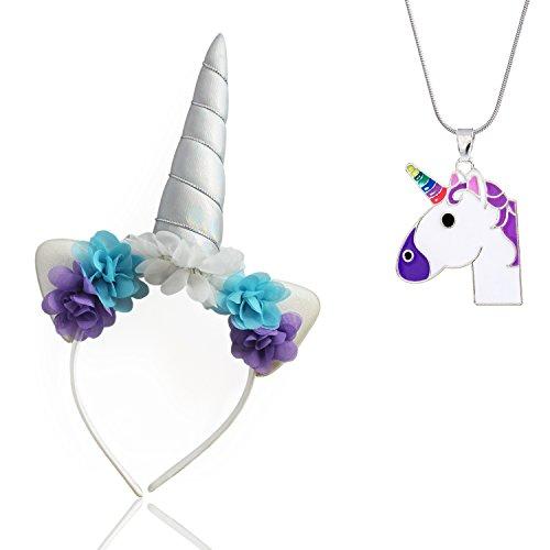 Unicorn Horn Headband Purple Unicorn Necklace Birthday Flowers Ears Cosplay Costume Party (Unicorn Horn Halloween Costume)