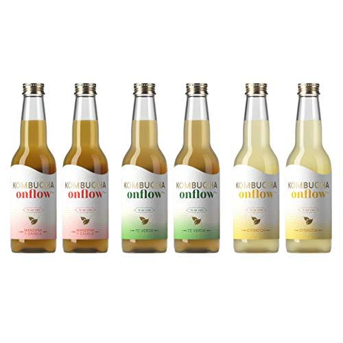 Te Kombucha bebida energetica kombucha scoby probioticos intestinales sin azucar anadido ecologico fermentado 6 botellas de kombucha Onflow (Pack Bienvenida Variado)