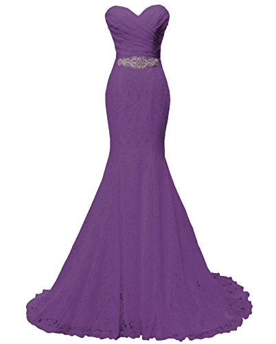 Solovedress Women's Lace Wedding Dress Mermaid Evening Dress Bridal Gown with Sash (US 4,Purple)