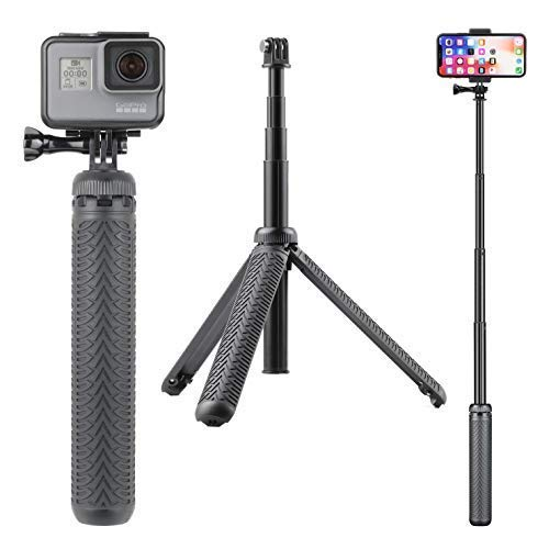 SOONSUN 3-in-1 Aluminum Telescoping Selfie Stick Monopod Pole Handheld Grip with Tripod Stand for GoPro Hero Fusion/7/6/5/4/3+/3/2018/Session, AKASO, SJCAM Cameras and Cell Phones ()