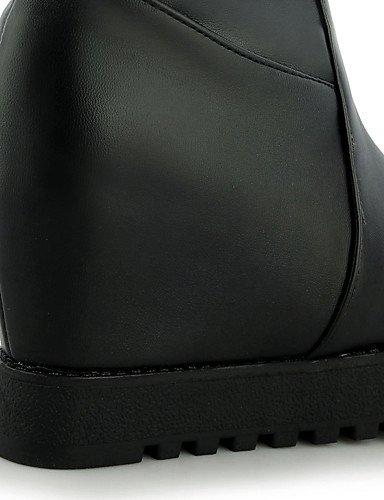XZZ/ Damen-Stiefel-Outddor / Büro / Lässig-Kunstleder-Plateau-Plateau / Modische Stiefel-Schwarz / Weiß black-us6.5-7 / eu37 / uk4.5-5 / cn37