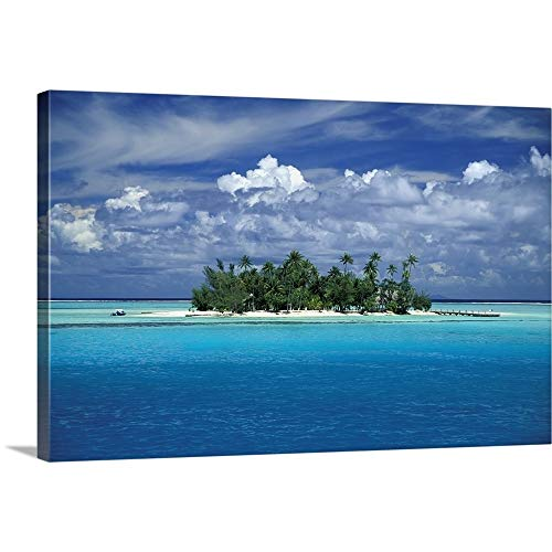 - GREATBIGCANVAS Gallery-Wrapped Canvas Entitled Small Palm Tree Covered Tropical Island; French Polynesia by Paul Miles 60