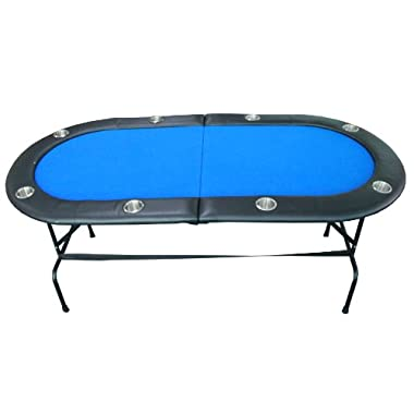 8 Player Casino Texas Holdem w/ Stainless Steel Cup Holders Folding Poker Table Blue