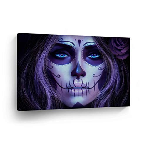 Day of The Dead Beautiful Woman Candy Skull Makeup Purple Canvas Print Sugar Skull Decor Wall Art Home Decor Stretched and Ready to Hang-%100 Handmade in The USA - 8x12