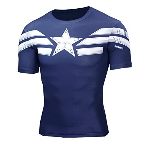 Mens Short Sleeve Captain America Compression Shirt for Running 2XL ()