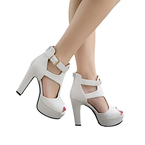 MORNISN Women's peep Toe Platform high Heel Sandals Buckle T-Strap Pumps Wedding Party Shoes White
