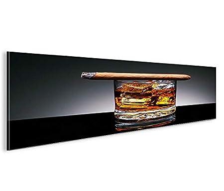 Islandburner Bild Bilder Auf Leinwand Zigarre Und Whisky Whiskey Panorama  XXL Poster Leinwandbild Wandbild Dekoartikel Wohnzimmer