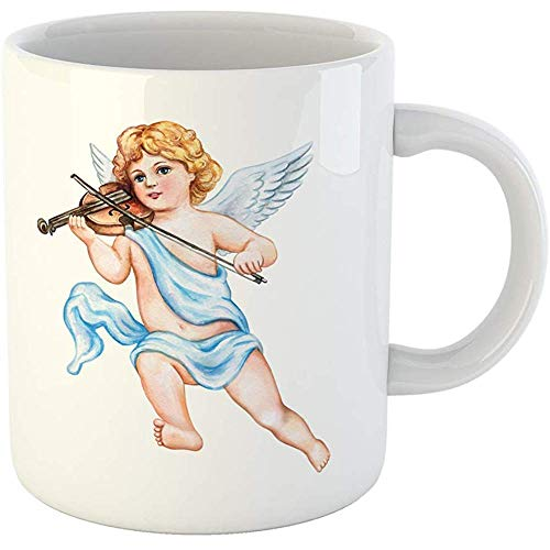 Vintage Valentine Clipart - Personalized 11 Ounces Funny Coffee Mug Cupid Angel Violin Watercolor Vintage Clipart Valentine Day Drawing Ceramic Coffee Mugs Tea Cup Souvenir