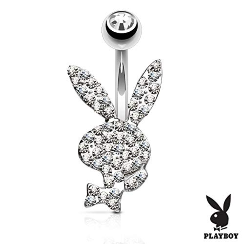 (Inspiration Dezigns 14GA Crystal Paved Playboy Bunny 316L Surgical Steel Belly Button Navel Rings (Clear))
