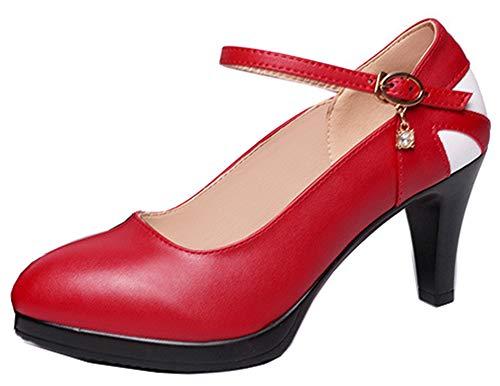 Unique Easemax Bout Rond Femme Multicolore Rouge à Boucle Fermeture Escarpins 55Pwqr