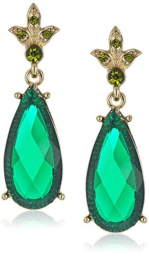 1928 Jewelry Gold-Tone Green Stone and Olivine-Color Crystal Teardrop (Green Pear Earrings)