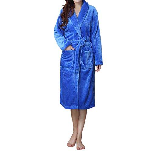 LAPAYA Women's Long Kimono Robe Soft Fuzzy Shawl Collar Warm Plush Fleece Bathrobe, Blue, Large