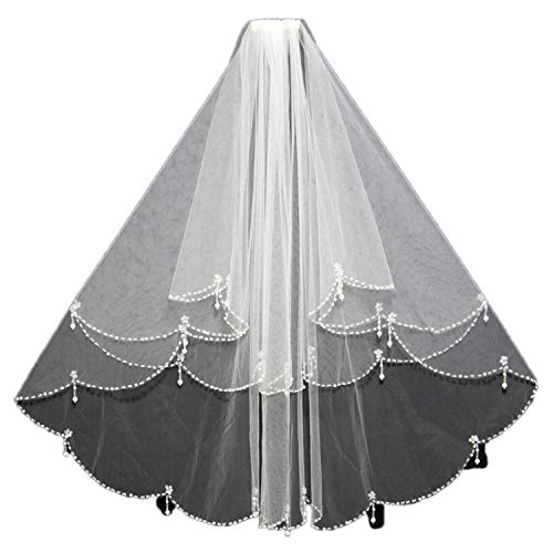 (Bridal Veils Tulle Pearls Bead Edge Two Layers White Ivory Wedding Veils Wedding Accessories Handmade 2019,Ivory,I will fight you)