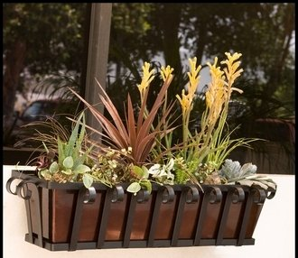 42'' Venetian Decora Window Box with Bronze Galvanized Liner by Windowbox.com