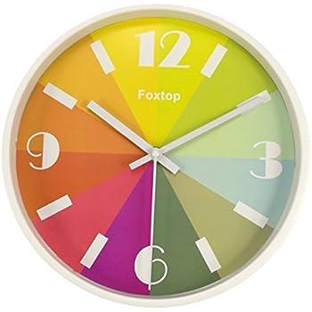 Amazoncom Foxtop 10 inch Modern Colorful Silent Wall Clock