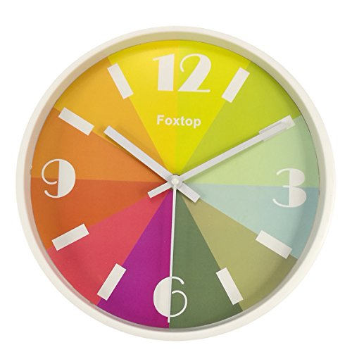 Foxtop 10 inch Modern Colorful Silent Wall Clock Stylish for Easy Reading Non-ticking Wall Clock with Numbers Display,Kids Rainbow Color Clock (White)