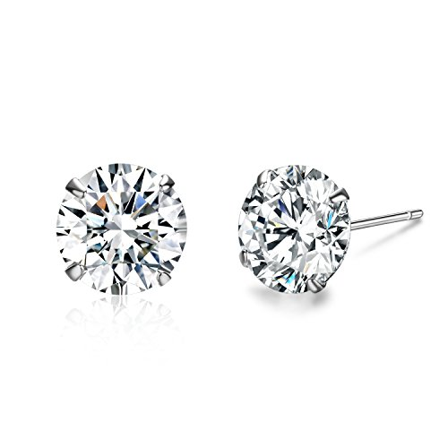 (SBLING Platinum Plated Sterling Silver Stud Earrings Made with Swarovski)