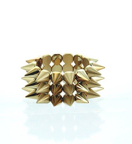 eSmart Fashion Bronze Thick Pyramid Spikes Metal Chunky Punk Rock Adjustable Bracelet
