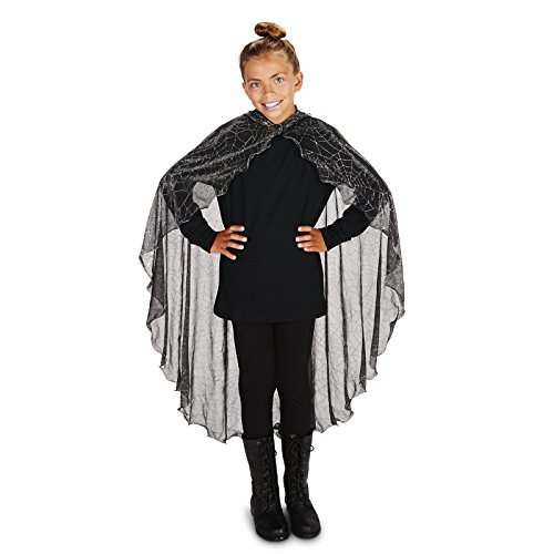 [Black Mesh Spider Web with Hood Child Cape with Hood] (Boy Spider Halloween Costume)