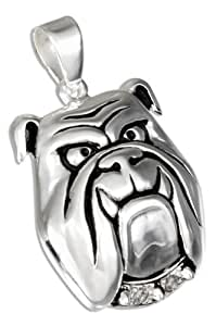 Sterling Silver Large Bulldog Face Pendant