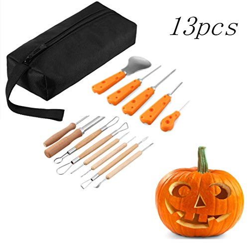 13 Piece Sturdy Stainless Steel Pumpkin Carving Tool Kit for Halloween Creative -
