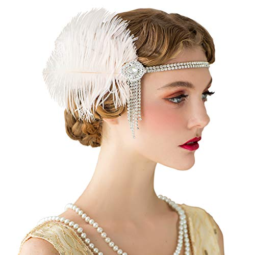 - SWEETV Flapper Headbands Womens 1920s Headpiece Great Gatsby Inspired Feather Headband Cocktail Party Rhinestone Hair Accessories for Women, Blush Pink