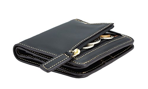 NapaWalli Womens Rfid Blocking Small Compact Bifold Luxury Genuine Leather Pocket Wallet Ladies Mini Purse with ID Window (black)
