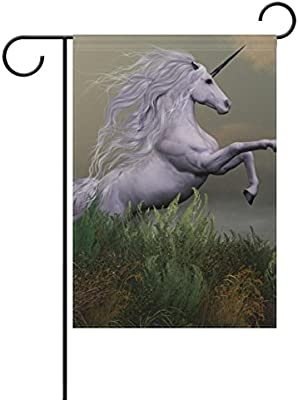Doble cara blanco Unicorn on mountain poliéster casa jardín bandera Banner 12 x 18/28 x 40 pulgadas para todo tipo de clima para boda fiesta: Amazon.es: Jardín