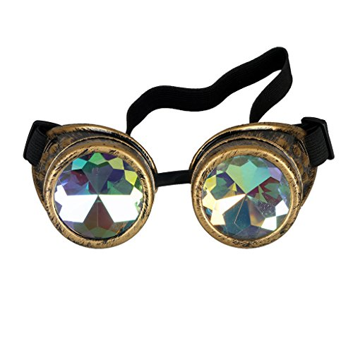 Steampunk Goggles with Rainbow Crystal Glass Lens Kaleidoscope Goggles Perfect for Halloween,Cosplay,Photo Prop,Outdoor Sports ()