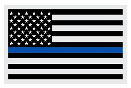 """6"""" Black Subdued American Flag Reflective Decal Sticker with Police Blue Line"""