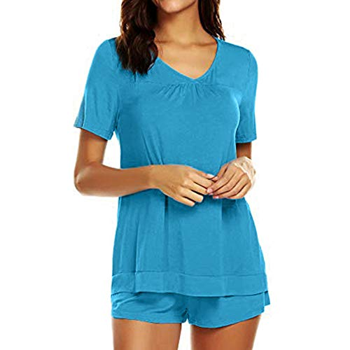 Funic Womens Sleepwear Set Pajama Sets Button up Short Sleeve Top Blouse Tank and Shorts Set (Small, Blue B)