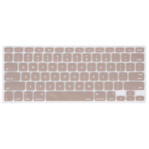 MOSISO Keyboard Cover Silicone Skin Compatible MacBook Pro 13 Inch, 15 Inch (with or Without Retina Display, 2015 or Older Version) MacBook Air 13 Inch, Camel