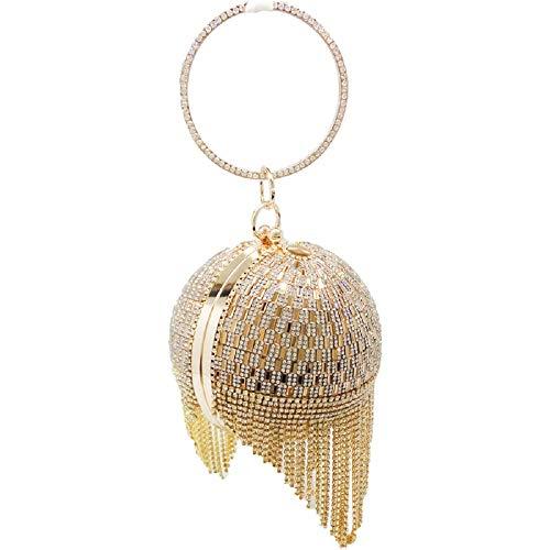 Gold Crystal Tassel Women Evening Bag Round Wristlets Handbag Purse