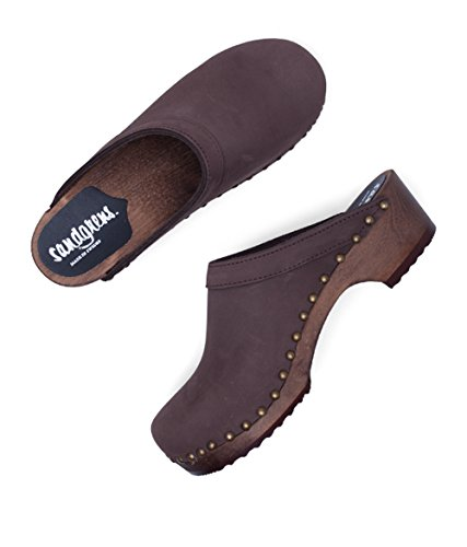 Athens Women Swedish Low Fudge Clog Wooden Mules Heel Sandgrens for 8gx0w4g