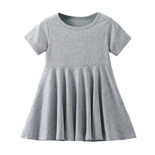 Price comparison product image Mysky Summer Kids Baby Girls Popular Lovely Pure Color Short Sleeve A-Line Comfy Cotton Pleated Swing Dress Gray