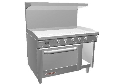 Southbend S48DC-4T S-Series 48'' Gas Restaurant Range w/ 48'' Thermostatic Griddle, (1) Standard Oven & (1) Cabinet Base
