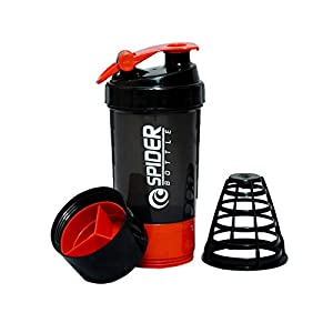 Everytimestock Unisex Spider Gym Sipper Protein Shaker Plastic Water Bottle 528 ml Sipper (Red and Black)