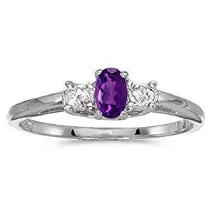 0.18 Carat (ctw) 14k Gold Oval Purple Amethyst and Diamond 3 Three Stone Engagement Classic Engagement Promise Ring (5 x 3 MM)