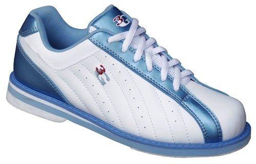 3G Tritte Damen weiß / blau Bowling Schuhe (6)