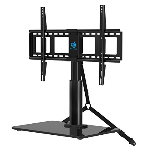 - HUANUO HN-TVS03 Universal Adjustable Table Top TV Stands for 32 to 60 Inch Televisions with 70 Degree Swivel & 4 Level Height Alignment, Tempered Glass Base, Anti-Tip Safety Strap, Black