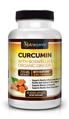 720mg Curcumin Extract with Boswellia, Organic Ginger and BioPerine – Powerful Natural Anti-Inflammatory – 60 Day Supply – Gluten Free, Non GMO, Vegan Friendly