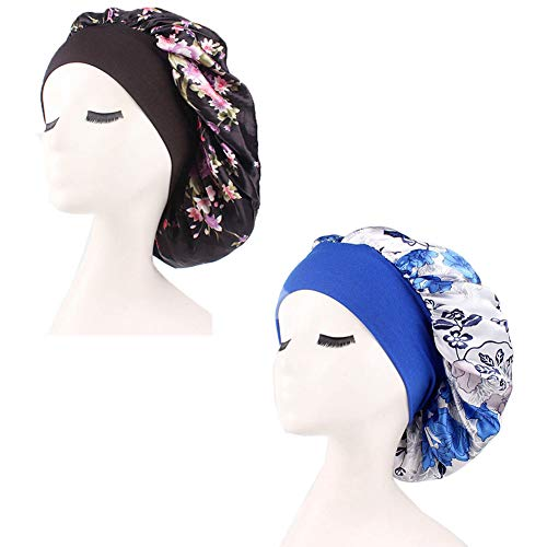 2 PACK Wide Band Soft Satin Sleeping Cap Salon Bonnet Comfortable Night Sleep Hat Hair Loss Cap (Black+Blue)