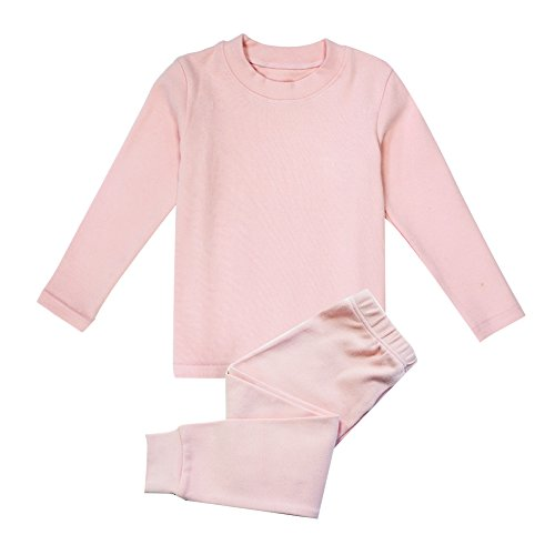 Little Girls Boys Thermal Underwear Long John Set Thermal Breathing Pajama Crewneck Top and Bottom 2PC Set, (Pink, 3T)