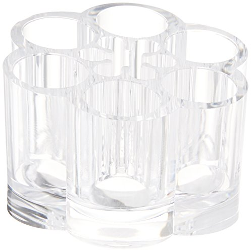 Ikee Design Acrylic Flower Cosmetic and Makeup Brush Holder with 12 Spaces