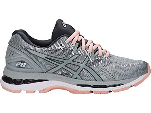 ASICS Women's Gel-Nimbus 20 (D) Running Shoes, 8W, MID Grey/MID Grey/Seashell Pink